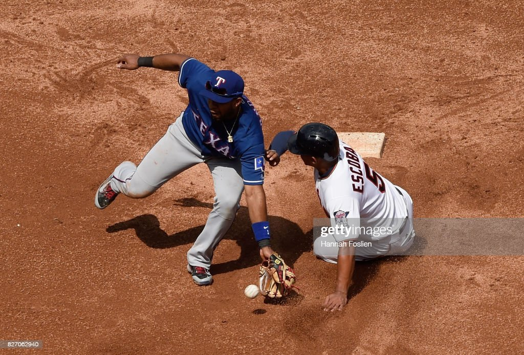 Eduardo Escobar #5 of the Minnesota Twins steals second base as Elvis Andrus #1 of the Texas Rangers fields the ball during the fifth inning of the game on August 6, 2017 at Target Field in Minneapolis, Minnesota. The Twins defeated the Rangers 6-5.