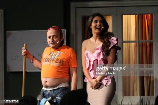 Eduardo Espana and Mayrin Villanueva perform during the presentation of Televisa's TV show 'La Casa de la Comedia' at Televisa San Angel on March 20...