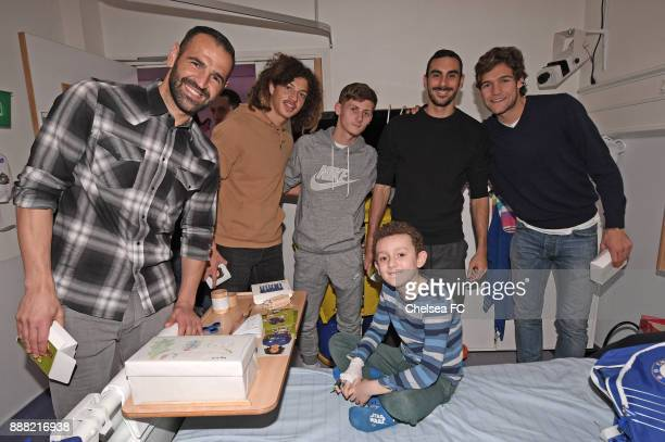 Eduardo Ethan Ampdau Kyle Scott Davide Zappacosta and Marcos Alonso of Chelsea during the annual Chelsea and Westminster Hospital Visit on December 7...