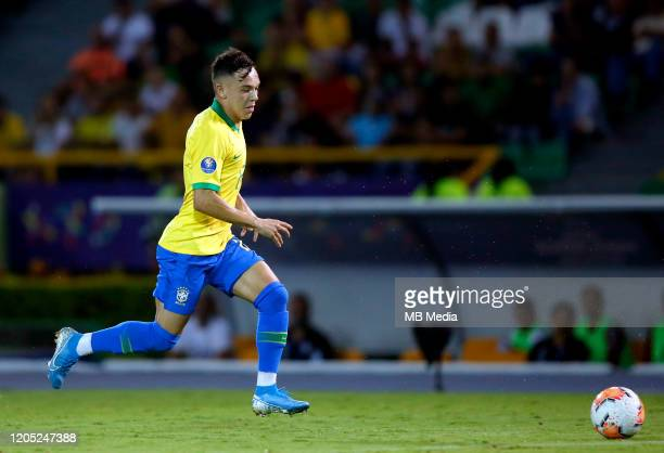 """Eduardo Gabriel Aquino Cossa """" Pepe """" of Brazil on action ,during a match between Brazil U23 and Paraguay U23 as part of CONMEBOL Preolimpico 2020 at..."""