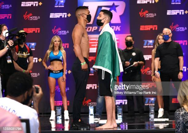 Eduardo Garza and Andres Cortes face-off during the weigh-in at Virgin Hotels Las Vegas on May 21, 2021 in Las Vegas, Nevada.