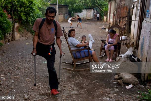 Eduardo Gutierrez now handicapped as a result of injuries sustained during the 5 years he was a Sandinista revolutionary fighter returns to his tin...