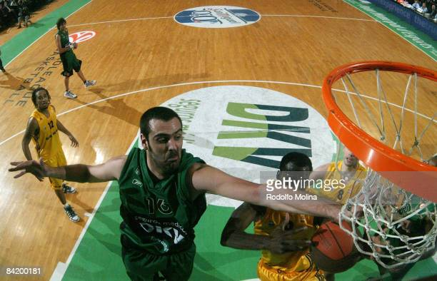 Eduardo HernandezSonseca #16 of DKV Joventut competes Ansu Sesay #9 of Alba Berlin during the Euroleague Basketball Game 9 match between DKV Joventut...