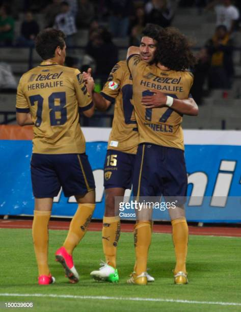 Eduardo Herrera of Pumas celebrates a goal during a match between Pumas and Merida as part of the Copa MX 2012 at University Olympic Stadium on...