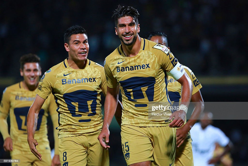Eduardo Herrera of Pumas celebrates after scoring the first goal of his team during the match between Pumas UNAM and Honduras Progreso as part of the CONCACAF Champions League 2016/17 at Olimpico Universitario Stadium on August 18, 2016 in Mexico City, Mexico.