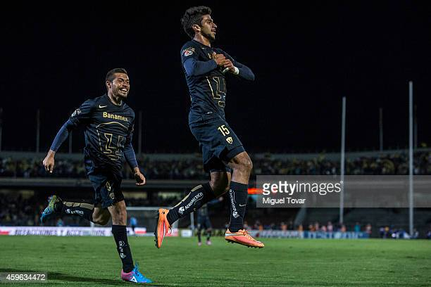 Eduardo Herrera of Pumas celebrates after scoring the winning goal during a quarterfinal first leg match between Pumas UNAM and America as part of...