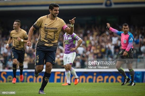 Eduardo Herrera of Pumas celebrates after socirng the first goal of his team during the 14th round match between Pumas UNAM and Chiapas as part of...
