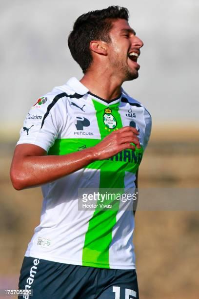 Eduardo Herrera of Santos celebrates a goal against Zacatepec during a match between Zacatepec and Santos as part of the Copa MX at Centenario...
