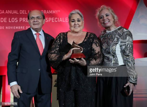 Eduardo Hutt Lupita D'Alessio and Carla Estrada attend the Special Awards Presentation during the 20th annual Latin GRAMMY Awards at the Waldorf...