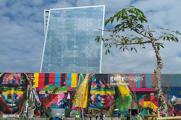 Eduardo Kobra s Mural named Native people from the 5 continents at Boulevard do Porto in Rio de Janeiro port surrounding area Brazil part of the...