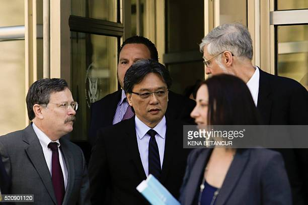 Eduardo Li of Costa Rica leaves the Court of the Eastern District in Brooklyn New York on April 13 2016 The US federal judge overseeing the sweeping...