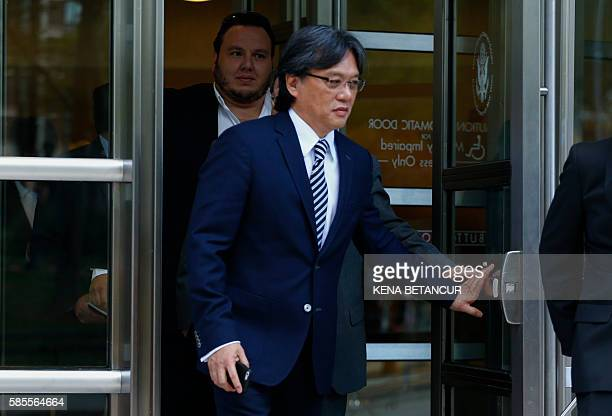 Eduardo Li of Costa Rica leaves the Court of the Eastern District in Brooklyn New York on August 3 2016 following a preliminary hearing in the FIFA...