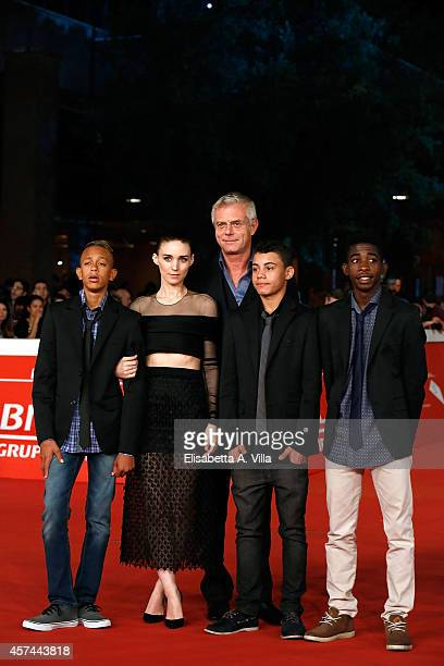 Eduardo Luis Rooney Mara director Stephen Daldry Gabriel Weinstein and Rickson Tevez attends the 'Trash' Red Carpet during The 9th Rome Film Festival...