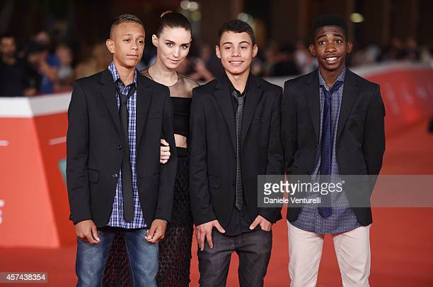 Eduardo Luis Rooney Mara Gabriel Weinstein and Rickson Tevez attends the 'Trash' Red Carpet during The 9th Rome Film Festival at Auditorium Parco...