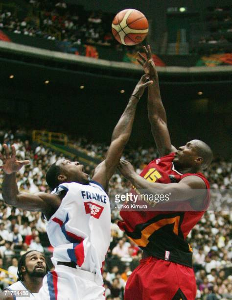 Eduardo Mingas of Angola reches for the ball against France during the final round of eight at the FIBA World Championship 2006 on August 27 2006 in...