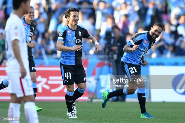 Eduardo Neto of Kawasaki Frontale celebrates scoring his side's second goal during the JLeague J1 match between Kawasaki Frontale and Kashima Antlers...