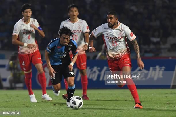 Eduardo Neto of Nagoya Grampus in action during the JLeague J1 match between Kawasaki Frontale and Nagoya Grampus at Todoroki Stadium on September 22...