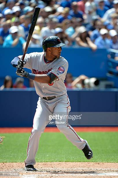Eduardo Nuñez of the Minnesota Twins bats during the game against the Toronto Blue Jays at the Rogers Centre on Monday August 3 2015 in Toronto...