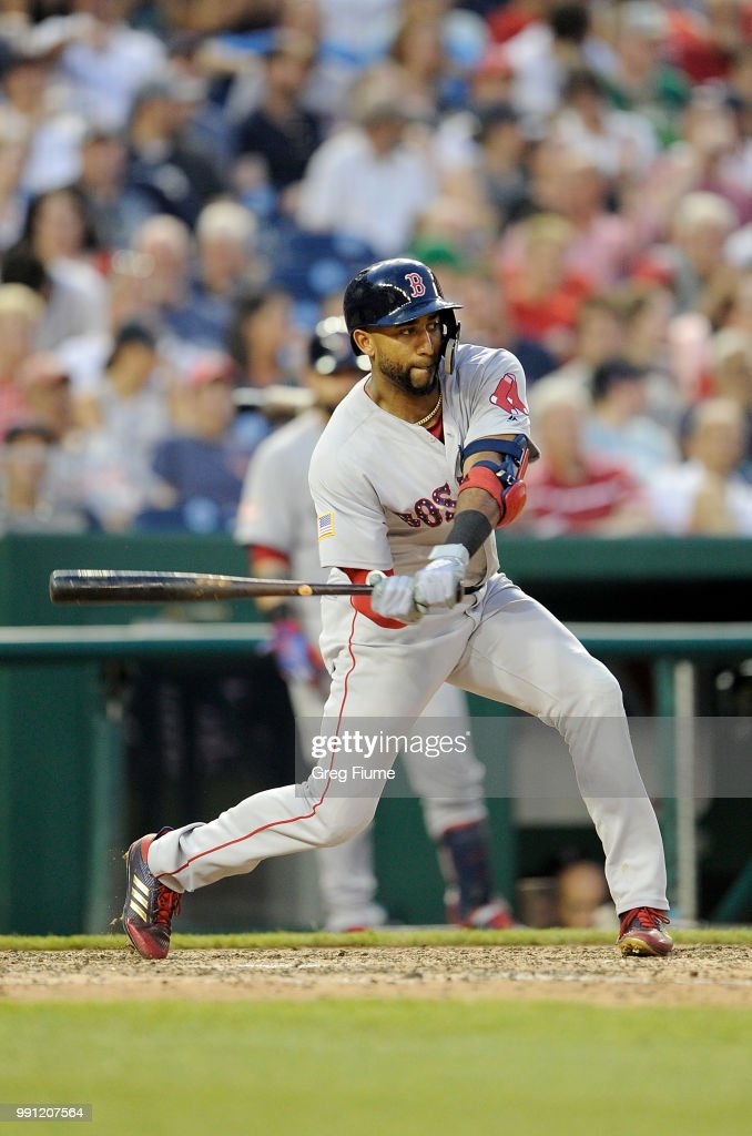 Eduardo Nunez #36 of the Boston Red Sox hits a double in the eighth inning against the Washington Nationals at Nationals Park on July 3, 2018 in Washington, DC.