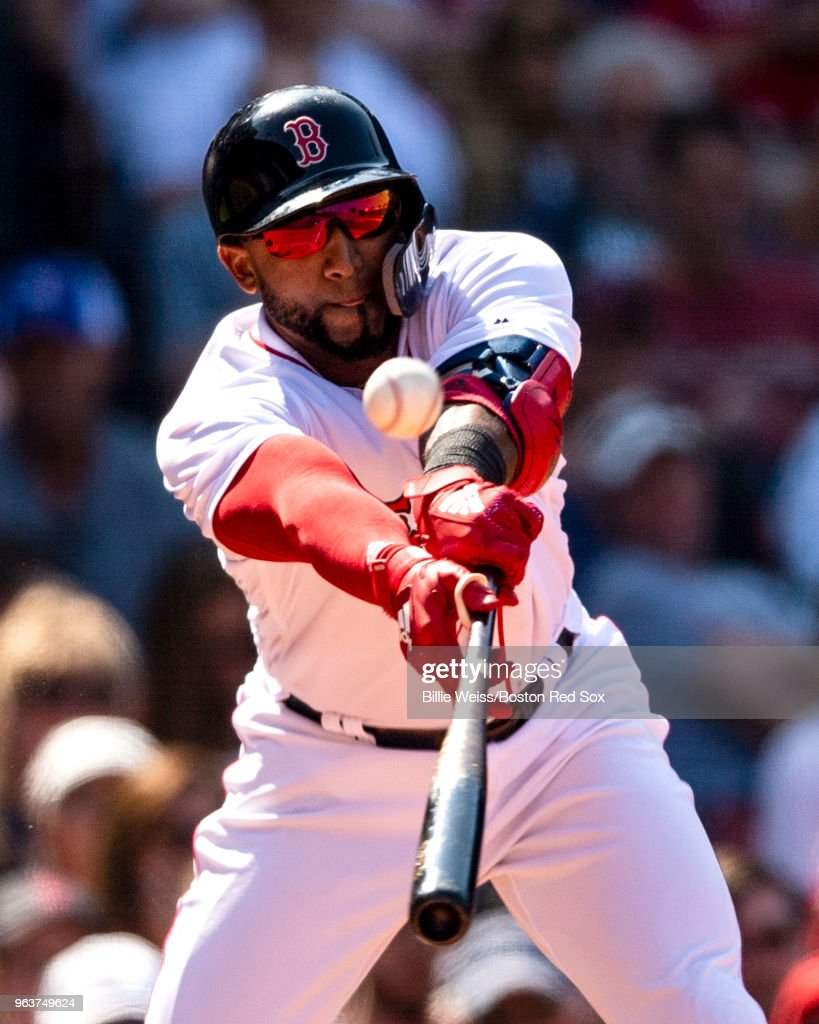 Eduardo Nunez #36 of the Boston Red Sox hits an RBI double during the eighth inning of a game against the Toronto Blue Jays on May 30, 2018 at Fenway Park in Boston, Massachusetts.