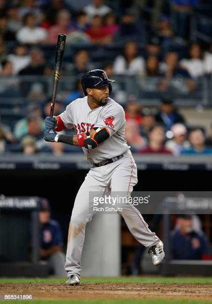 Eduardo Nunez of the Boston Red Sox in action against the New York Yankees during a game at Yankee Stadium on September 3 2017 in the Bronx borough...