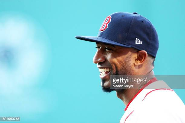 Eduardo Nunez of the Boston Red Sox laughs before the game against the Cleveland Indians at Fenway Park on July 31 2017 in Boston Massachusetts
