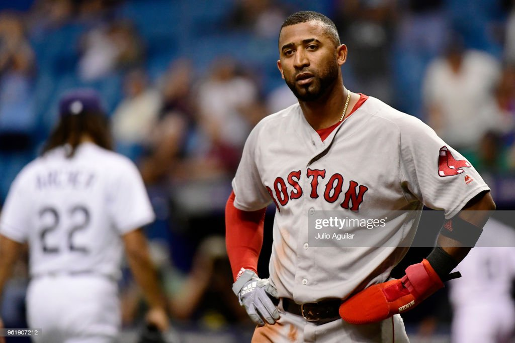 Eduardo Nunez #36 of the Boston Red Sox reacts after getting tagged out at home plate in the fifth inning against the Tampa Bay Rays on May 23, 2018 at Tropicana Field in St Petersburg, Florida. The Red Sox won 4-1.