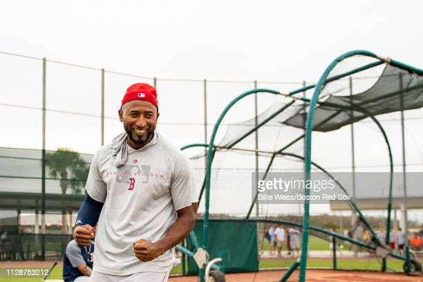Eduardo Nunez of the Boston Red Sox reacts during a team workout on March 5 2019 at JetBlue Park at Fenway South in Fort Myers Florida