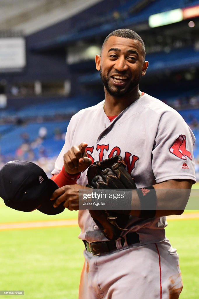 Eduardo Nunez #36 of the Boston Red Sox reacts to teammates in the ninth inning against the Tampa Bay Rays on May 23, 2018 at Tropicana Field in St Petersburg, Florida. The Red Sox won 4-1.