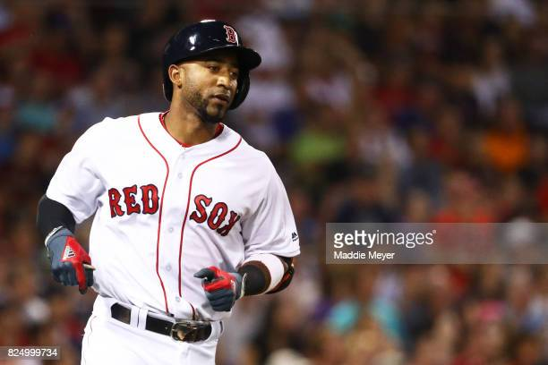Eduardo Nunez of the Boston Red Sox runs for first during the fourth inning against the Cleveland Indians at Fenway Park on July 31 2017 in Boston...