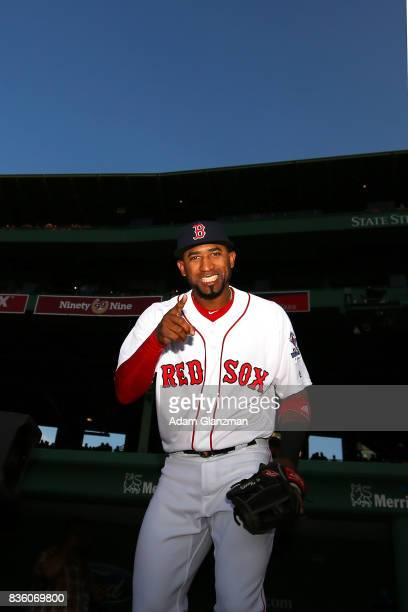Eduardo Nunez of the Boston Red Sox takes the field before a game against the New York Yankees at Fenway Park on August 19 2017 in Boston...