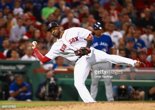 Eduardo Nunez of the Boston Red Sox throws to first base at the top of the eighth inning during the game against the Toronto Blue Jays at Fenway Park...