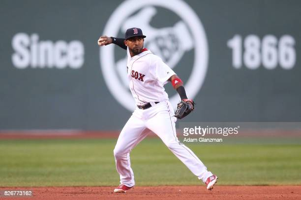 Eduardo Nunez of the Boston Red Sox throws to first base in the first inning of a game against the Chicago White Sox at Fenway Park on August 5 2017...