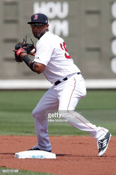 0193720f3 Eduardo Nunez of the Boston Red Sox turns the double play during the Spring  Training game. New York Yankees v Baltimore Orioles