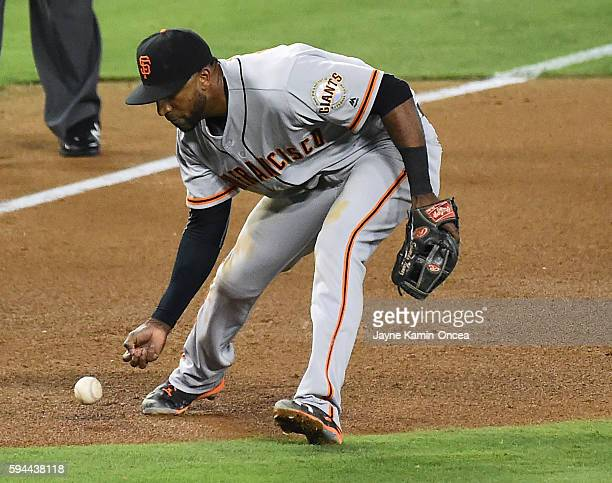 Eduardo Nunez of the San Francisco Giants is charged with an error as he misses a ground ball in the fifth inning of the game against the Los Angeles...