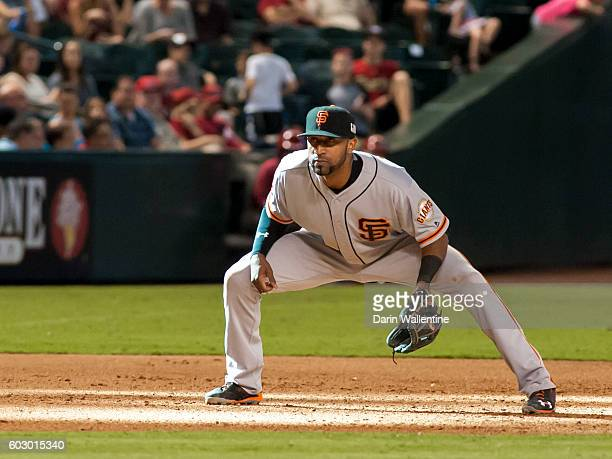 Eduardo Nunez of the San Francisco Giants plays the field in the eighth inning of the MLB game against the Arizona Diamondbacks at Chase Field on...