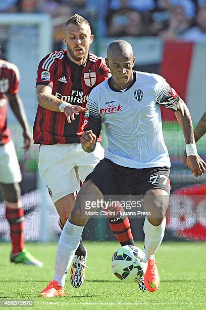 Eduardo of AC Cesena competes the ball with Jeremy Menez of AC Milan during the Serie A match between AC Cesena and AC Milan at Dino Manuzzi Stadium...