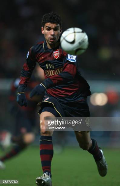 Eduardo of Arsenal in action during the Carling Cup Quarter Final match between Blackburn Rovers and Arsenal at Ewood Park on December 18, 2007 in...