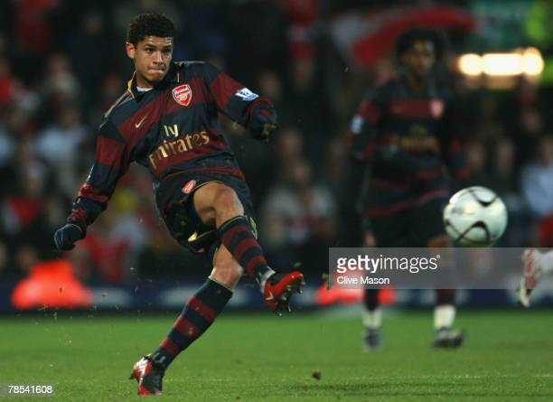 Eduardo of Arsenal scores his team's second goal during the Carling Cup Quarter Final match between Blackburn Rovers and Arsenal at Ewood Park on...