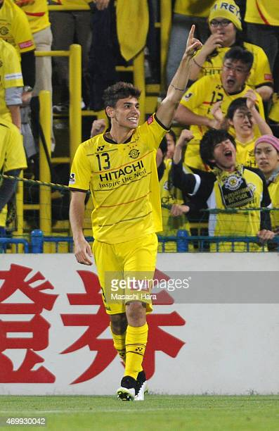 Eduardo of Kashiwa Reysol celebrates the first goal during the JLeague match between Kashiwa Reysol and Kashima Antlers at Hitachi Kashiwa Soccer...