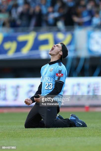 Eduardo of Kawasaki Frontale celebrates the JLeague Champions after his side's 50 victory in the JLeague J1 match between Kawasaki Frontale and Omiya...
