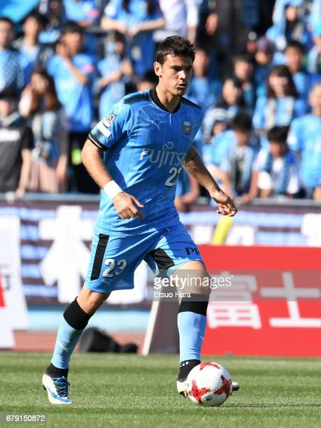 Eduardo of Kawasaki Frontale in action during the JLeague J1 match between Kawasaki Frontale and Albirex Niigata at Todoroki Stadium on May 5 2017 in...