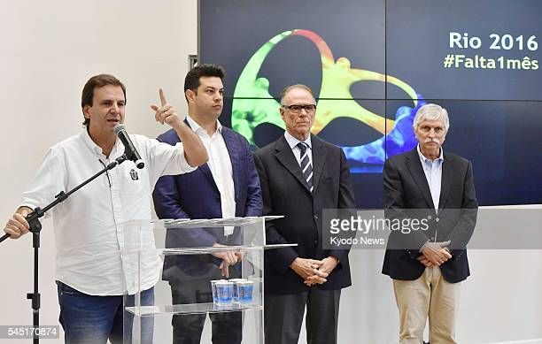 Eduardo Paes the mayor of Rio de Janeiro speaks at a press conference in the Brazilian city on July 5 2016 Paes said he is confident of staging a...