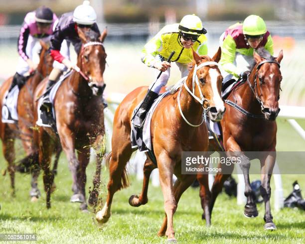 Eduardo ridden by Brian Park wins race 3 the McCafe Caulfield Sprint during Caulfield Cup Day at Caulfield Racecourse on October 20 2018 in Melbourne...