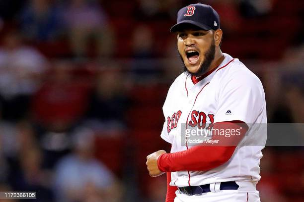 Eduardo Rodriguez of the Boston Red Sox celebrates after pitching the seventh inning against the Minnesota Twins at Fenway Park on September 04, 2019...