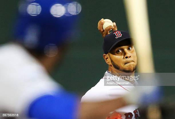 Eduardo Rodriguez of the Boston Red Sox delivers in the first inning during a game against the Kansas City Royals on August 28 2016 at Fenway Park in...