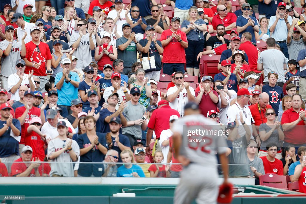 Eduardo Rodriguez #52 of the Boston Red Sox is applauded by Boston fans after leaving the game in the eighth inning against the Cincinnati Reds at Great American Ball Park on September 23, 2017 in Cincinnati, Ohio. Boston defeated Cincinnati 5-0.