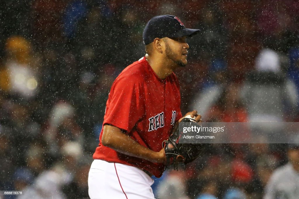 Eduardo Rodriguez #52 of the Boston Red Sox looks on in the sixth inning of a game against the Seattle Mariners at Fenway Park on May 26, 2017 in Boston, Massachusetts.
