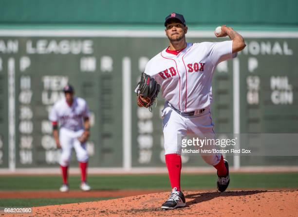 Eduardo Rodriguez of the Boston Red Sox pitches against the Pittsburgh Pirates in the first inning at of a makeup game at Fenway Park on April 13...