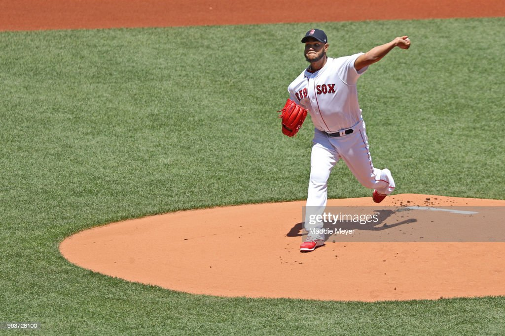 Eduardo Rodriguez #57 of the Boston Red Sox pitches against the Toronto Blue Jays during the first inning at Fenway Park on May 30, 2018 in Boston, Massachusetts.